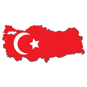 The flag of Turkey placed over the country's outline.