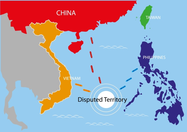 An image depicting the disputed territory of the South China Sea.